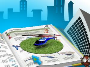 Dans ce livre, l'hélicoptère en réalité augmentée est piloté grâce au clavier de l'ordinateur