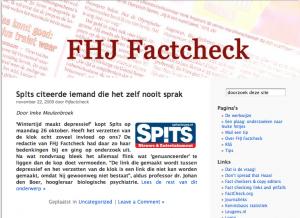 """La page d'accueil du blog des étudiants """"factchekers"""""""