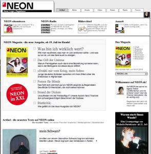 Home de neon.de, le 19 juillet 2010