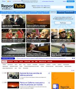 La page d'accueil de Reportube