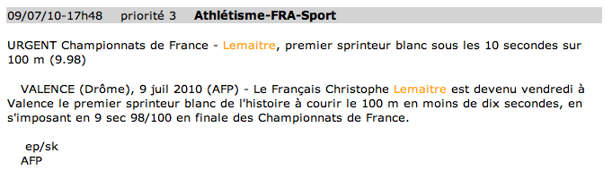 Depêche AFP, Christophe Lemaitre