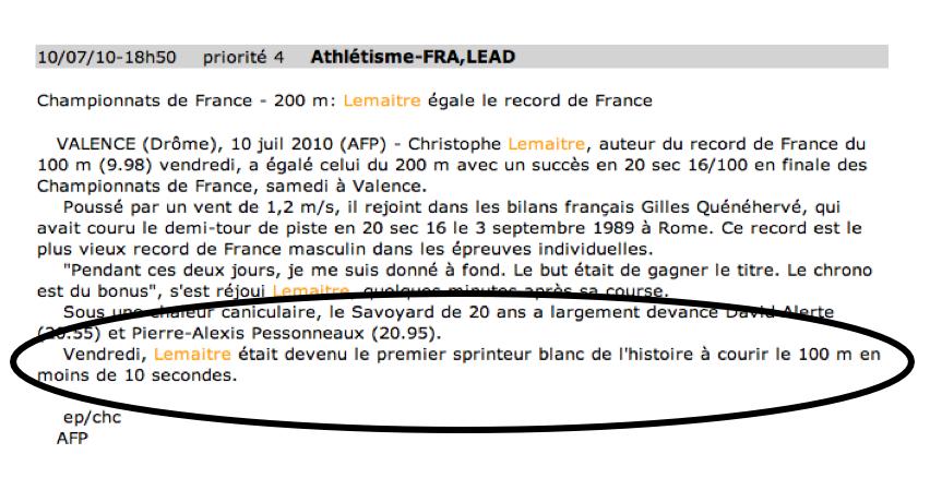Depeche AFP-2 Christophe Lemaitre