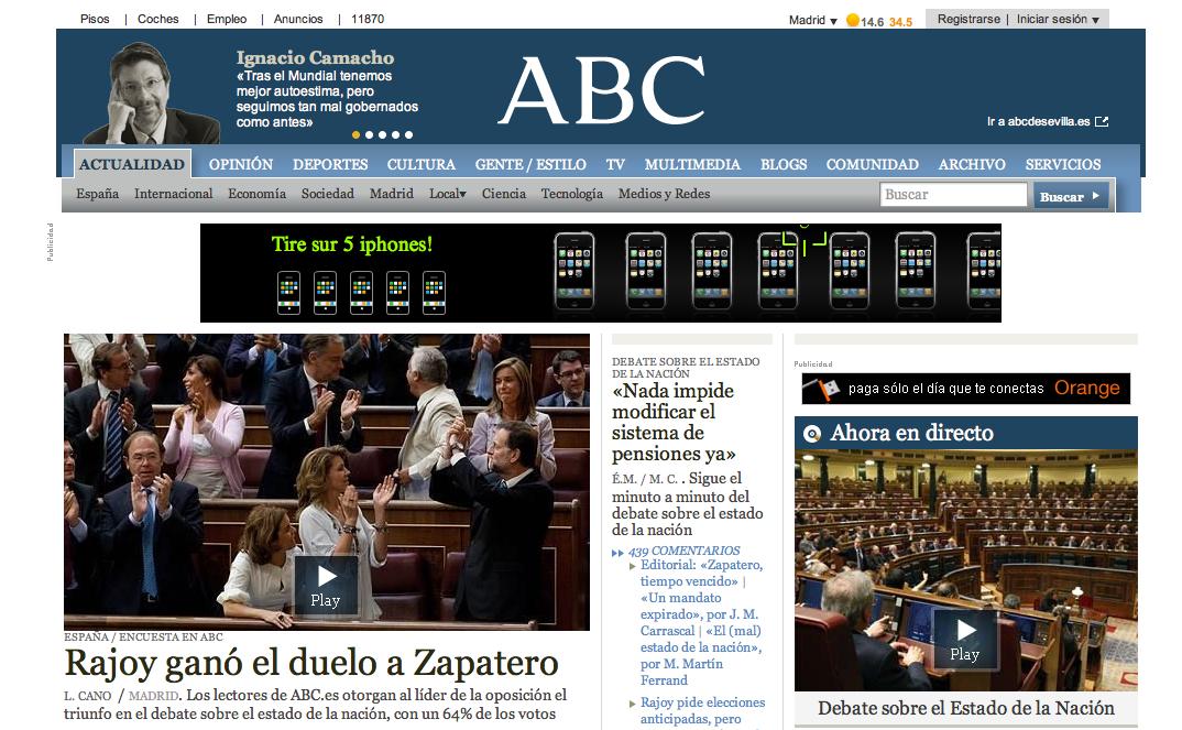Home d'ABC.es, le 15 juillet 2010