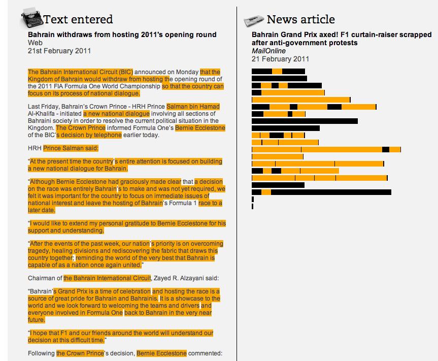Churnalism, le détail des résultats pour un article