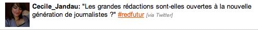 Tweet Cécile Jeandeau lors de rédaction du futur, Entretiens de l'information