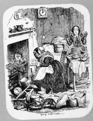 The sentimal novel reader, dessin de Cruikshank, publié dans The English Comic Album