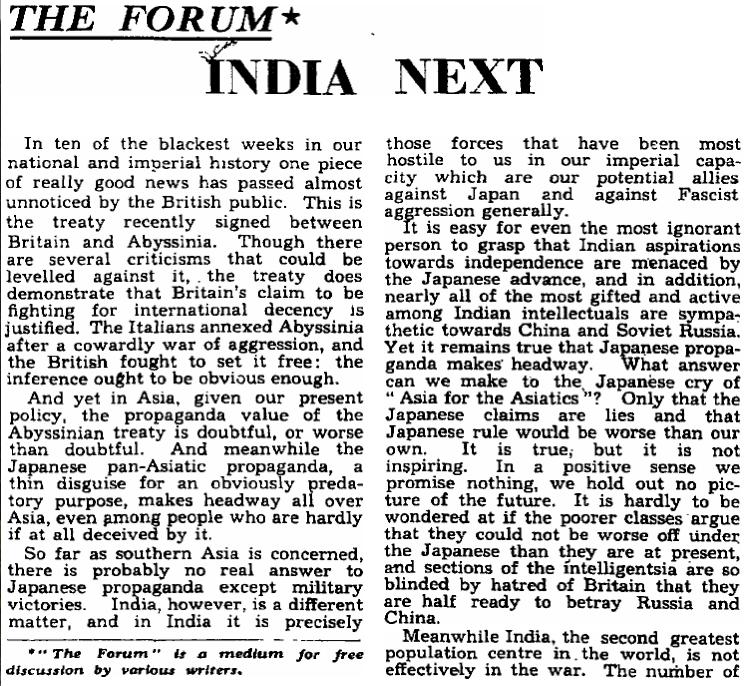 Le premier article de George Orwell publié dans The Observer, en 1942