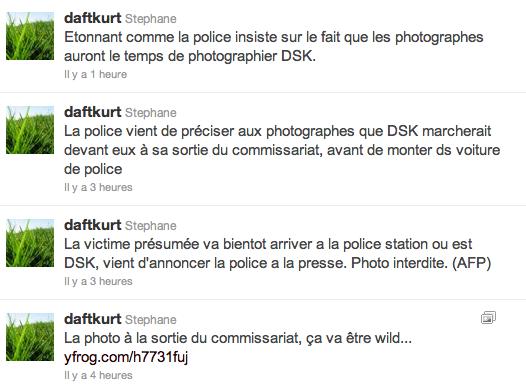 Un extrait de la timeline de @daftkurt, journaliste de l'AFP, le dimanche 15 mai 2011