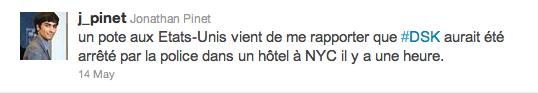 Le tweet de @j_pinet qui lança l'affaire DSK