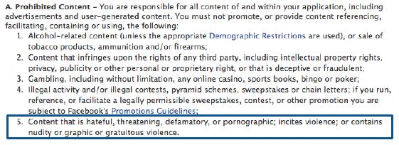 Extrait n°1 du réglement Facebook
