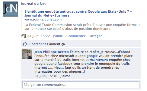 Commentaire Facebook Journal du Net
