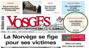La Une de Vosges Matin, du 26 juillet 2011
