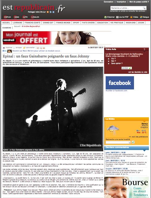 Page intérieure du site L'Est Républicain, du 26 juillet 2011