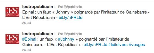 Les deux tweets de L'Est Républicain, du 26 juillet 2011
