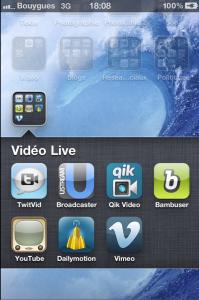 Capture d'écran d'iPhone : les apps. de vidéo Live