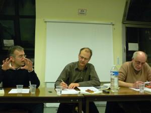 Avec (de droite à gauche) Philippe Couve, Jacques Trentesaux (modérateur) et Bernard Poulet