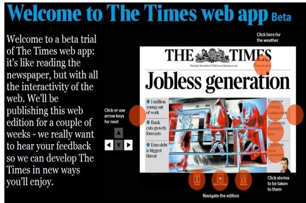 La démo de la web app du Times