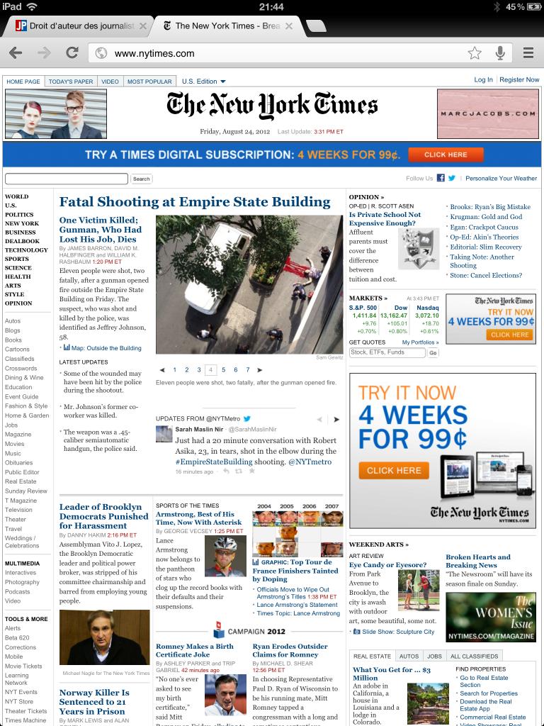 La une du New York Times du 24 août 2012