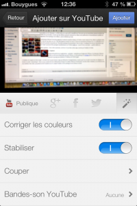 l'interface de capture - Youtube