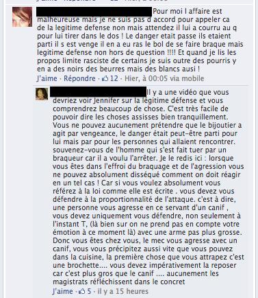 """Dialogue sur la page Facebook """"Soutenons le bijoutier"""""""
