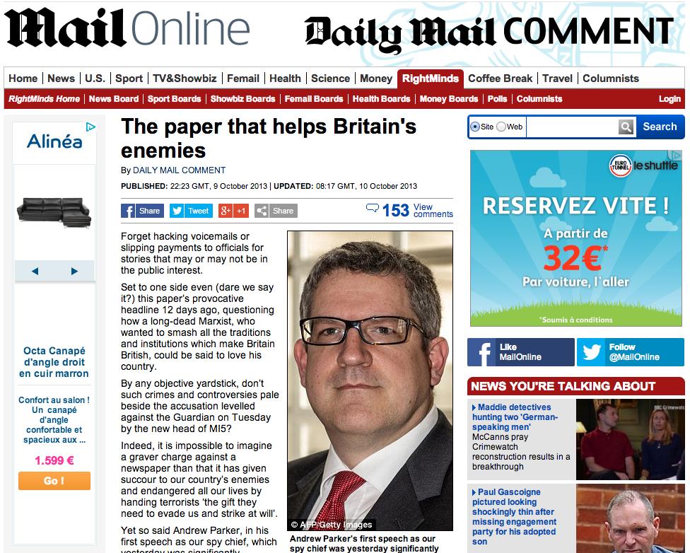Éditorial du Daily Mail, accusant le Guardian de travailler pour les terroristes