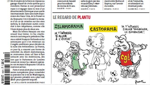 Le dessin de Plantu à la une du Monde (papier) du premier octobre 2013