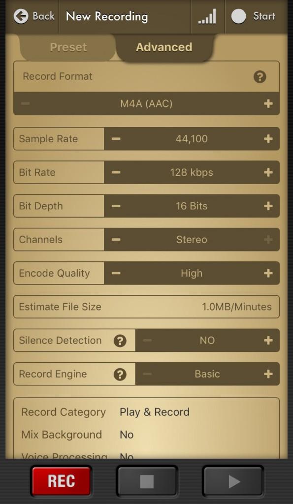 voice record - reglages